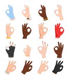 Ok hands success gesture vector. Human Icons. $5.00