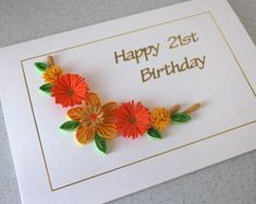 40th birthday card handmade quilled paper quilling for any