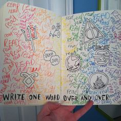 """Wreak This Journal! """"Write one word over and over"""" Fandom style! (The symbols are Percy Jackson, Mortal Instruments, The Fault in our Stars, Bloodlines, Hunger Games, Harry Potter, Legend, and Divergent)"""
