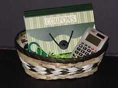 Stamp Scrap Fever!: Anything but Cards - Ideas for Quarter Auctions - Coupon folder gift set includes a calculator, pen & scissors.