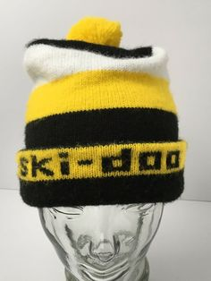 db904d95ccfb4 Vintage Ski-doo Pom Hat Winter Knit Beanie Snowmobile Stocking Cap 70s   SkiDoo  Beanie  Winter