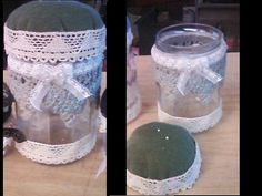 pincushion/Jar with Vintage lace by TheFunkyGypsy on Etsy, $21.00