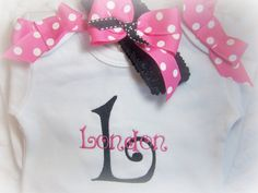 Personalized Baby Girl  Onesie and matching headband with bow, hot pink and black