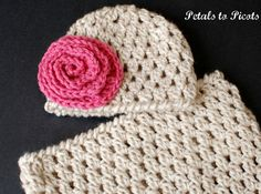 Newborn Bunting and Hat (with Optional Flower) Crochet Pattern - (Great Photo Prop).