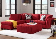 Cindy Crawford Home Calvin Heights Cardinal 3 Pc Sectional Living Room