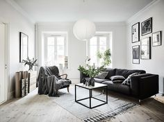 Such a cool idea. Not placing the sofa in a conventional way. But I just love the whole apartment you got tot check it out ;)