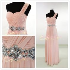 Long Bead Pink Prom Dress A-line One-shoulder Floor-length Bridesmaid Dress Graduation Dress Formal Dress Homecoming Dress 2014