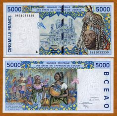 Cote d'Ivoire (Ivory Coast) 5000 Francs 1992 (women with pottery) African States, Money Notes, Money Bank, Gold And Silver Coins, Old Money, Thinking Day, World Coins, Postage Stamps, African Animals
