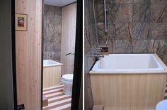 japanese soaking tub, bamboo plank floor, marble walls