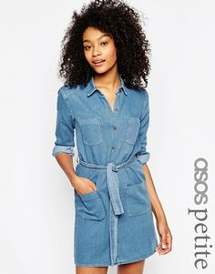ASOS PETITE Denim Belted Shirt Dress