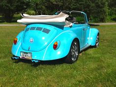This 1974 Volkswagen Superbeetle Convertible received a frame off restoration from Carlisle Customs & Classics.  This vehicle received extensive metal, body, and paint work; a brand new high performance engine; custom two-tone tweed interior and new hotchcloth canvas top; beautiful baby blue paint job; new chrome wheels; and custom designed airbrushed emblem.  To have your own car or truck re-imagined by Carlisle Customs & Classics, call Vinny at 717-258-1313.
