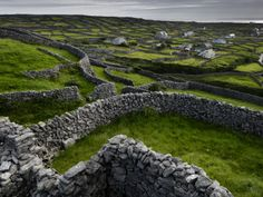 Ireland: Pastoral Landscape with Stone Fences and Cottages