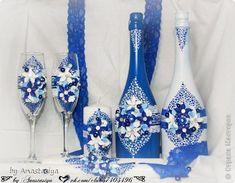 Декор предметов Свадьба Лепка Свадебный набор в синем цвете Пластика фото 1