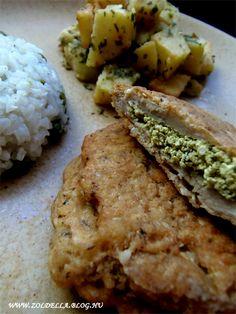 Rántott töltött szejtán szelet Delicious Snacks, Seitan, Protein, Paleo, Food And Drink, Vegetarian, Dishes, Meat, Chicken