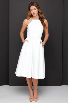 Fill your world with grace and wonder in the Lead a Charmed Life Ivory Midi Dress! Thick, woven ivory fabric composes a flattering backless bodice and full midi skirt. Cute Dresses For Party, Grad Dresses, White Maxi Dresses, Ivory Dresses, Pretty Dresses, White Dress, Bridesmaid Dresses, Wedding Dresses, White Tea Length Dress
