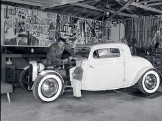 old garage, old tools, old car