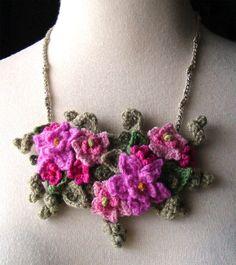 Crochet Bib Necklace in Hot Pink Flowers