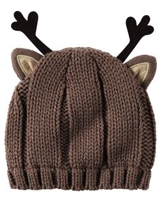 Baby Girl Knit Reindeer Hat