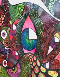 Ein Bild mit einem farbenfrohen Straßenkunstmotiv von Carolina Falkholt aus Schweden