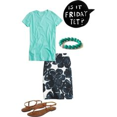 I like this simple outfit.  Casual but still nice enough for a summer work day.