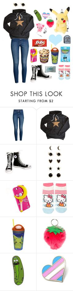 """""""Look at this dude"""" by hellokittyboyfriend ❤ liked on Polyvore featuring H&M, Converse, Accessorize, claire's, Forever 21 and Hello Kitty"""