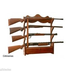 American Furniture Classics 4 Gun Wall Rack Collection Hunting Storage Safe Lock