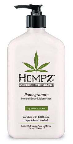 Hempz is a smooth herbal moisturizer with Hemp seed oil and extract as well as high levels of smoothing, healing Pomegranate, well known to contain very high levels of antioxidants to prevent free radicals and reduce fine lines and wrinkles.
