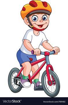 Kid on bicycle Royalty Free Vector Image - VectorStock Cartoon Mouths, Cartoon Clip, Cartoon Monsters, Leprechaun Girl, Pumpkin Vector, School Murals, Kids Bicycle, Bike, Transportation Theme