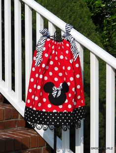 Minnie Mouse Dress Disney Dress Girls Pillowcase by GROOVYGURLZ