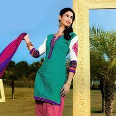 Teal Blue Cotton Readymade Salwar Suit