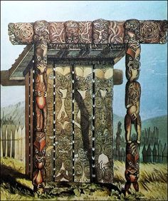 Te Wherowhero the Waikato chief (later to become King Potatau) had an elaborate carved wooden mausoleum feet high erected for his deceased daughter circa 1847 when this painting by George French Angus was executed. The body would have been placed upright. Polynesian People, Maori Art, Canoe, Kiwi, New Zealand, Daughter, Carving, Culture, French