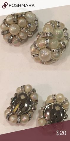 """Vintage Earrings Vintage clip-on earrings. Creamy faux pearls with sparkling rhinestone accents. Approximately 1 3/4"""" Jewelry Earrings"""