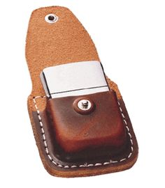 Brown Leather Zippo Pouch!