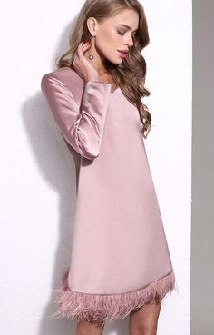 Пудровое платье А-силуэта с отделкой из перьев TOP20 Studio / 2000001026885-4