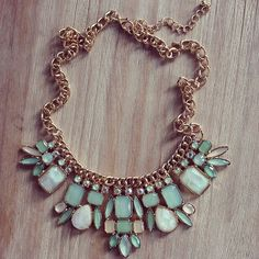 $28.00 Perfect opal green summer necklace #bib necklace #mint #necklace #weddings