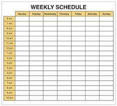 Free Weekly Calendar Template 2018 Excel Printable