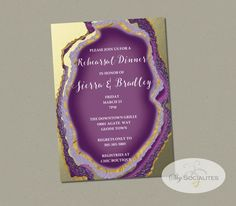 Purple Gold Dipped Agate Slice Invitation Gold by ShySocialites