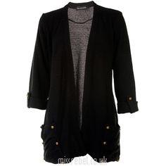 Black Stud Pocket Cardigan ($21) ❤ liked on Polyvore