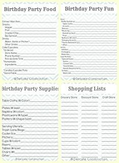 Birthday Party Planning Printables