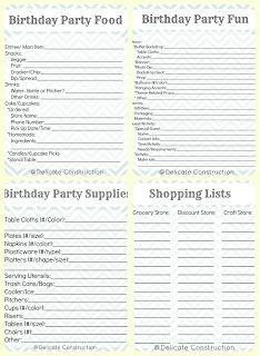 Kids birthday party checklist