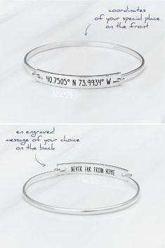 Coordinates Bracelet - GPS Coordinates Bangle - Longitude and Latitude Bracelet - Graduation Gift - Latitude Longitude Jewelry - Anniversary Gift - Farewell Gift. #girlfriendbirthdaygifts