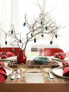 Acorn Charms Made Into Ornaments on Twig Centerpiece