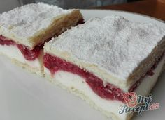 Extra krémový zákusek s jahodovým pyré Cheesecake, Goodies, Food And Drink, Pie, Sweets, Cooking, Recipes, Hampers, Backen
