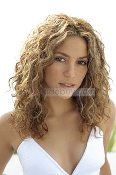 Custom Shakira Mid-Length Curly Hairstyle 100% Remy Human Hair Full Lace Monofilament Top Wig about 16 Inches, Shakira