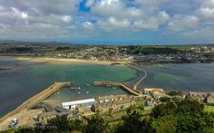 Mount's Bay, Jetties, Harbour & Causeway From The Castle - St. Michael's Mount, Cornwall, England, UK