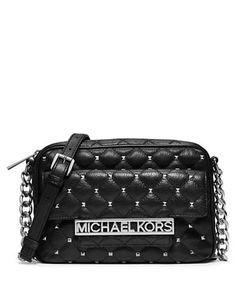 Michael Michael Kors Kim Leather Large Studded Messenger Bag Black