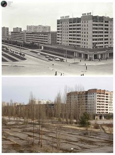 Chernobyl Then and Now.  A combination of images, taken in 1982 and on March 31, 2011, shows before and after view of the abandoned city of Prypiat near the Chernobyl nuclear power plant.  REUTERS/Vladimir Repik and Gleb Garanich