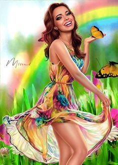 Beautiful Girl Wallpaper, Beautiful Gif, Beautiful Girl Image, Cartoon Girl Images, Girl Cartoon, Animation, Dark Fantasy, Fantasy Art, Happy Spring Day
