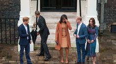 Prince Harry, Barack and Michelle Obama and the Duke and Duchess of Cambridge in Clock Cou...
