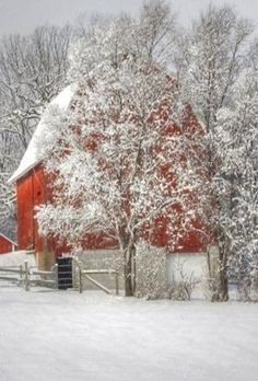 Country Winter with snow and red barn